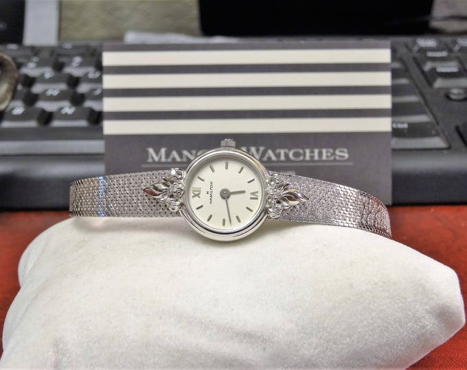 Vtg Hamilton 10K White Gold R.G.P. Quartz Ladies Watch w/ 10K R.G.P. Top Band!