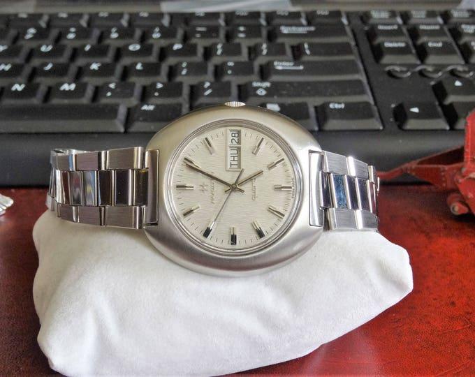 Vtg 1974 Hamilton 700001-3 Quartz Swiss Mens Watch w/ 19mm Stainless Steel Band!