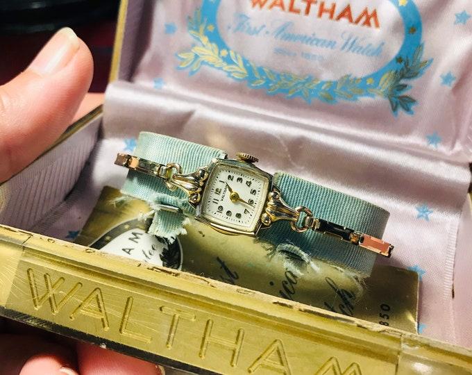 Vintage Waltham 10K RGP Bezel Hand Winding 17-J Ladies Watch w/ 10K G.F. Band!