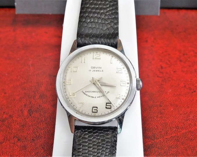 Vintage Orvin Hand Winding 17-Jewels Waterproof Men's Watch w/ 16mm Leather Band!
