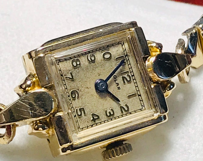 Vintage Rare Solar Square 10K Gold Filled Apex Winding Ladies Watch w/ Kreisler GF Stretch Bracelet!