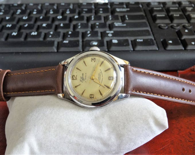 Vtg 1950s Effem Roamer Water Res 17-Jewels Swiss Mens Watch w/ 16mm Leather Band