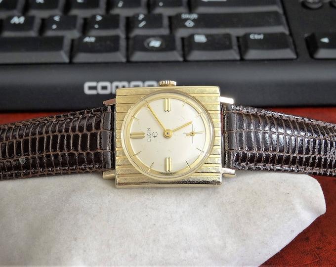 Vtg 1960s Elgin 10K Rolled Gold Plate Bezel Mens Watch w/ 18mm Lizard Grain Band