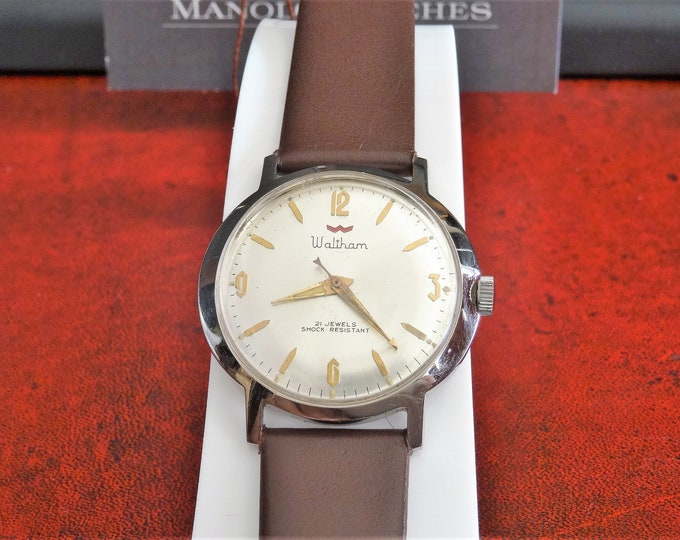 Vintage Waltham Hand Winding 21-Jewels Mens Watch w/ 18mm Genuine Leather Band!
