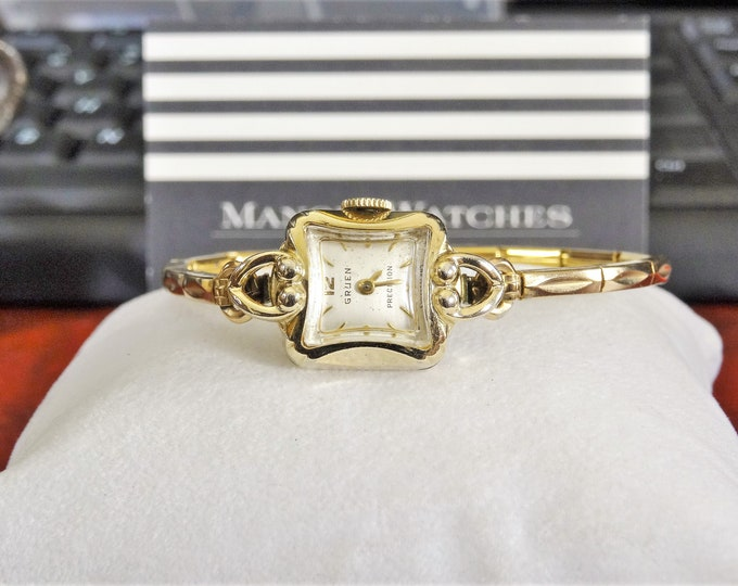 Vtg Gruen Precision 10K Gold Filled Winding Swiss Ladies Watch w/ Gold Tone Band