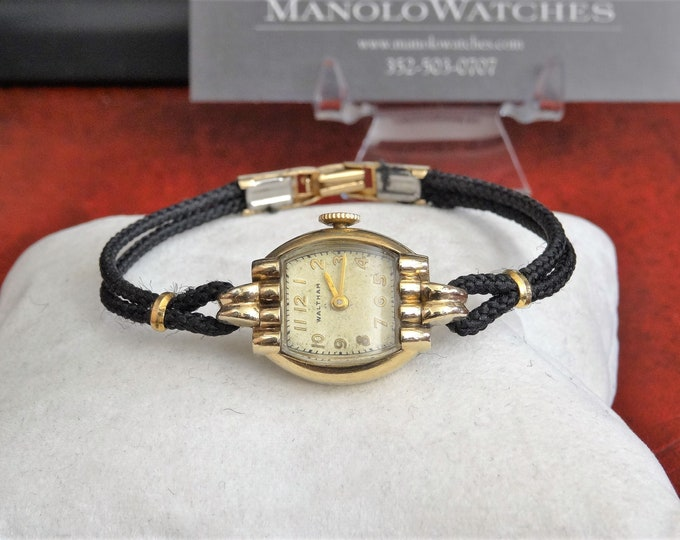 Vintage Waltham 10K Gold Filled Art Deco Winding Ladies Watch w/ Rope Band!