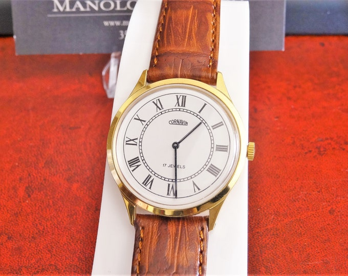 For Parts or Repairs Vintage Cornavin 17-J Winding Men's Watch w/ 16mm Band!