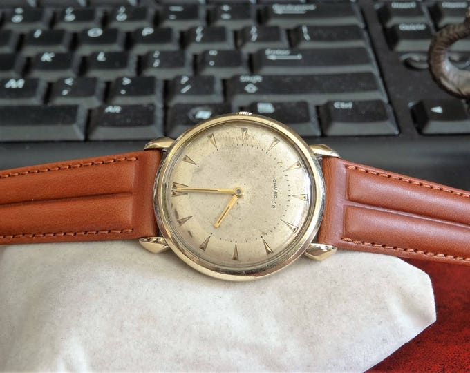 Vintage Hamilton 10K Gold Filled Bezel Mov 661 Automatic 17-Jewels Mens Watch w/ 18mm Leather Band!