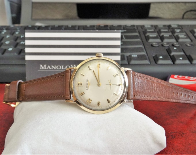 Vtg 1960 Longines Admiral 1200 10K Gold Filled Winding Men's Watch w/ 18mm Band!