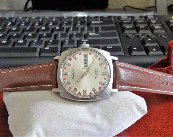 Vtg 1970s Baron Automatic 17-Jewels West Germany Mens Watch w/ 19mm Leather Band