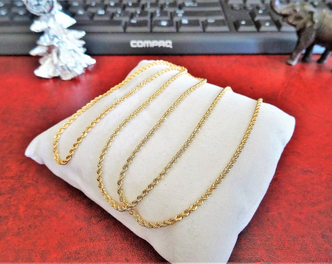 18K Gold Rope Chain 24 3/4 inches Necklace 10.11 grams!