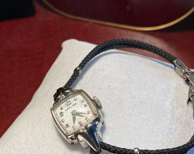 Vintage Hamilton 10K White Gold Filled Ladies Watch w/ Kreisler 10K RGP Top SS Black Rope Band!