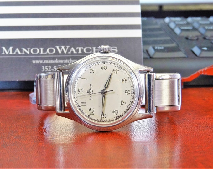 Vintage 1940s Baume & Mercier Geneve Military Style 17J Men's Watch w/ 16mm Band