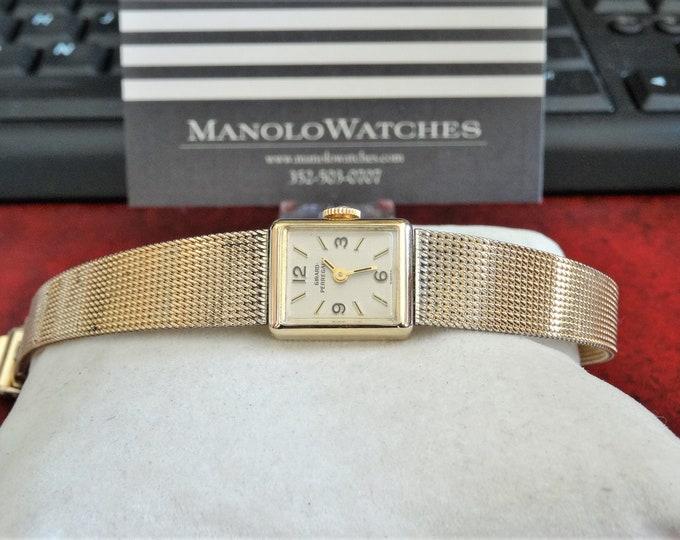 Vtg 1970s Girard Perregaux 10K G.F. Engraved 17-J Ladies Watch w/ 12mm Band