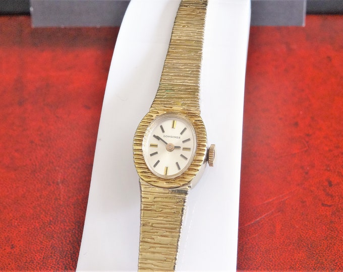 Vintage Longines 14K Gold Electroplated Bezel Hand Winding Swiss Ladies Watch w/ 11mm Gold Filled Band!