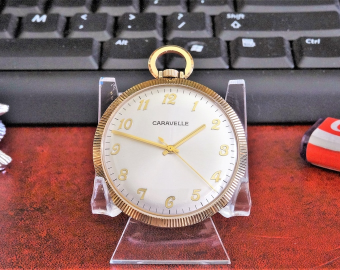 Vintage 1967 Caravelle Gold Tone Pocket Watch w/ Black Genuine Leather Band!