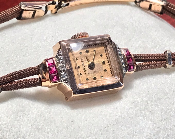 Vintage Longines 14K Solid Rose Gold Ruby and Diamond Swiss Ladies Watch w/ Rose Gold Filled Rope Band!