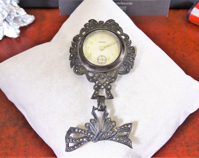 Vintage Wega Hand Winding Swiss Ladies Sterling Silver Marcasite Watch Brooch!