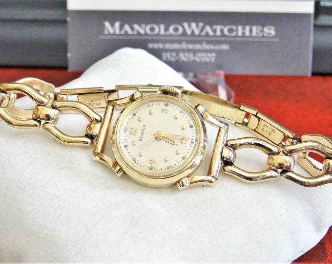 Vintage Benrus 10K Gold Filled Hand Winding Ladies Watch w/ Gold Filled Band!