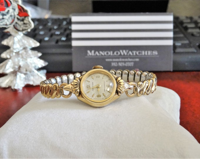 Vintage Croton 10K Rolled Gold Plated Bezel Ladies Watch w/ 10K Gold Filled Band