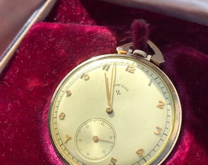 Vintage 1947 Lord Elgin Gold Filled 21-Jewels Model 5 Serial U583980 Size 10s Pocket Watch / w Presentation Case