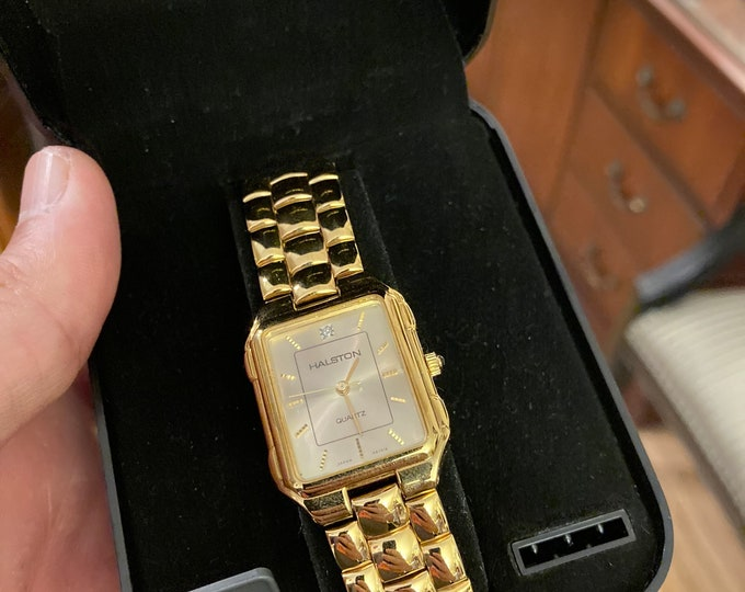 Retro Halston Gold Tone One-Diamond Dial Quartz Men's Watch w/ Display Case and Hong Kong Stainless Steel Band!
