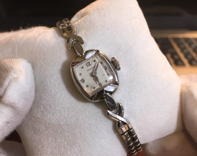 Vintage Hamilton 10K White Rolled Gold Plated Ladies Watch w/ Steel Band!