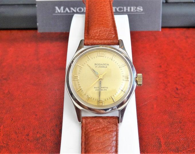 Vintage Rodania Automatic 17-Jewels Incabloc Men's Watch w/ 16mm Leather Band!