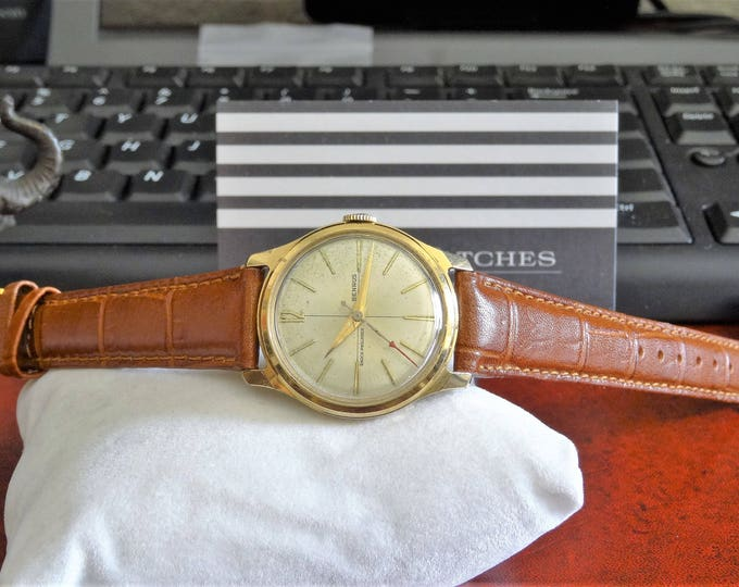 Vtg Benrus 20 Micron Gold Electroplated Crosshair Dial Men's Watch w/ 16mm Band!