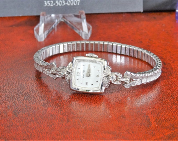 Vtg Lady Hamilton 14K White Gold Biggs 6 Diamonds Ladies Watch w/ Steel Band!