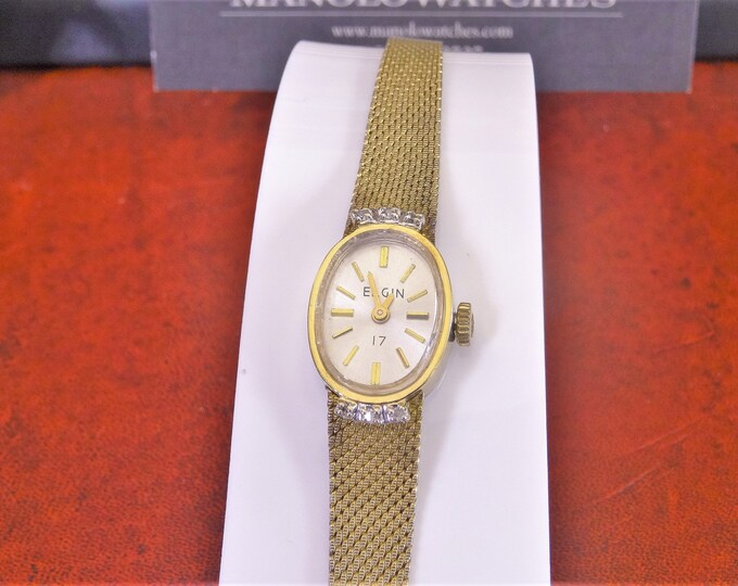 Vintage Elgin Gold Tone Genuine Diamonds Hand Winding 17-Jewel Ladies Watch w/ 9mm G.F. Band