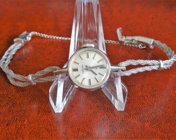 Vintage Hamilton 10K Rolled White Gold Plate Bezel Ladies Watch w/ Rope Band!
