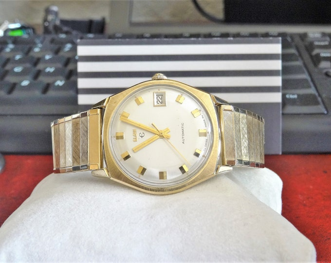 Vintage Elgin 10K Rolled Gold Plate Automatic Swiss Men's Watch w/ 17mm Band!