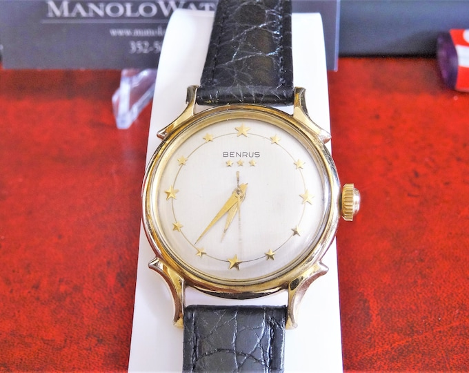 Vintage 1959 Benrus Star Dial 10K G.F. Automatic Men's Watch w/ Hadley Roma Band