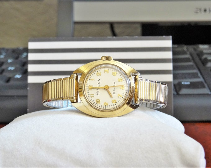 Vtg Hallmark by Waltham Gold Tone Quartz Ladies 17-Jewels Watch w/ 9mm 10K G.F. & RGP Band