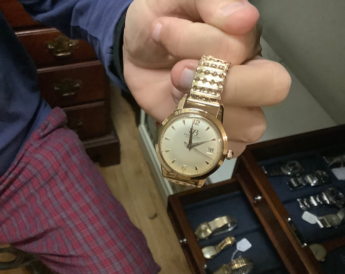 Vtg 1960s Ernest Borel Automatic Calendar Men's Watch 17-Jewels w/ GF Stretch Band