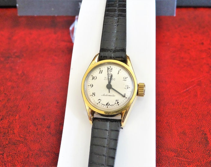 Vtg Zodiac Automatic Gold Electroplate Swiss Ladies Watch w/ 10mm Speidel Leather Band!