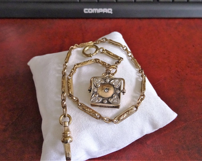 Antique Rose Gold Filled 17.35g Pocket Watch Chain w/ Fob Locket with Diamond!