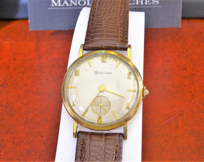 Vintage 1956 Bulova 10K Rolled Gold Plate Men's Watch w/ 18mm Leather Band!