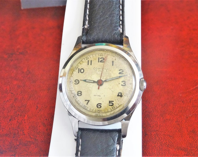 Vintage 1940's Cornwell Military Type W.R. Swiss 17-Jewels Men's Watch w/ 16mm Band!