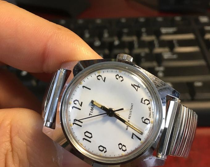 Vtg 1978 Timex Marlin Mechanical Wind Watch w/ 18mm Band