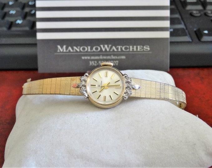 Vtg 1970's Hamilton 10K RGP Diamond Bezel Engraved 17-J Ladies Watch w/ 8mm Band