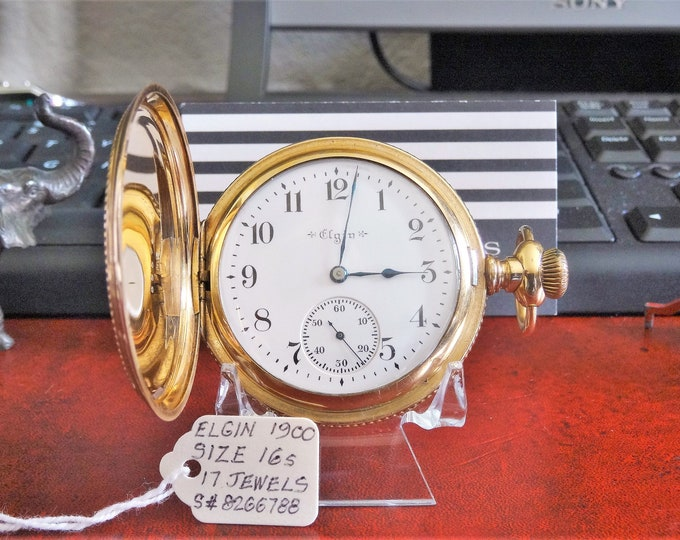 Antique 1900 Elgin Rose Gold 17-Jewels Serial# 8266788 Size 16s Pocket Watch!