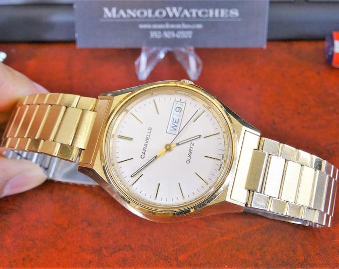 Retro 1990 Caravelle Gold Tone English/Spanish Calendar Men's Watch w/ 17mm Band