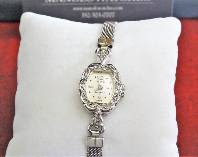 Vtg Benrus 14K Gold Case w/ Diamonds 21-J Swiss Ladies Watch w/ 12K G.F. Band!