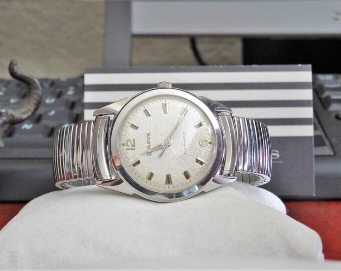 Vtg 1967 Bulova Automatic Waterproof Swiss Men's Watch w/ 15mm Stainless Steel Band!