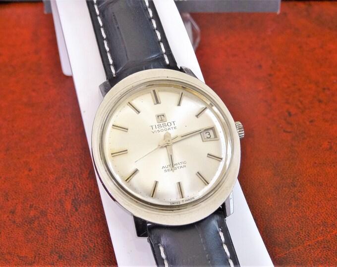 Vintage Tissot Visodate Automatic Seastar Swiss Men's Watch w/ 18mm Leather Band