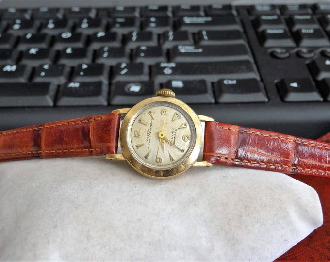 Vtg Croton Nivada Grenchen 10K GF Sea Nymph Aquamatic Watch w/ 11mm Leather Band!