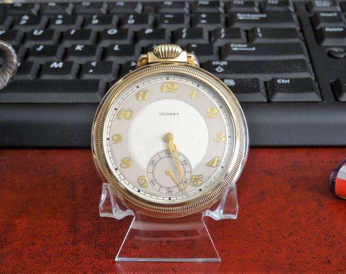 Vintage Crosby 10K Rolled Gold Plate 17-Jewels Swiss Size 16s Pocket Watch!