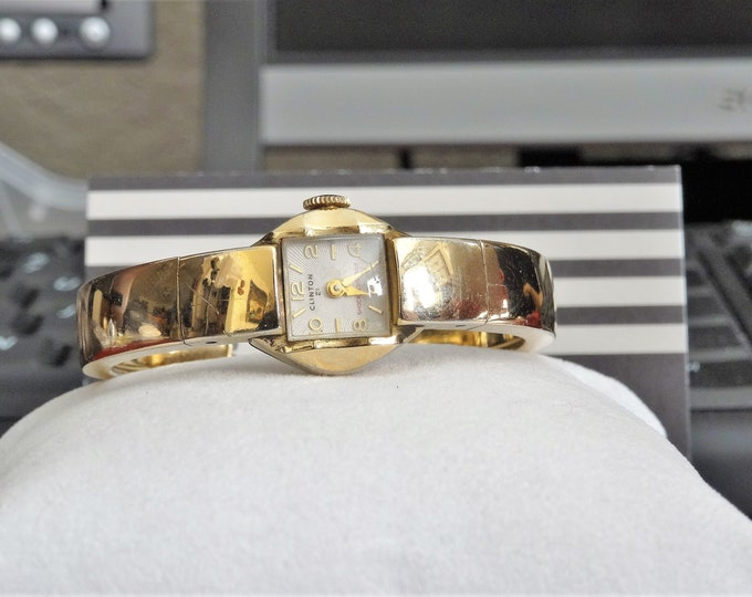 Vintage Clinton 10K Gold Filled 21-Jewels Swiss Ladies Watch w/ Gold Filled Band
